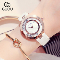 GUOU 2018 White Bracelet Woman Watch Women's Watches Rose Gold Fashion LuxuryLadies Watches For Women Rhinestone Clock Women