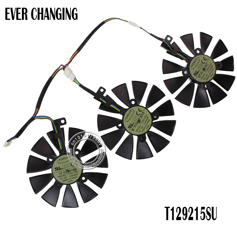 New 87MM Everflow T129215SU DC 12V 0.50AMP 4Pin 4 Wire Cooling Fan For ASUS GTX980Ti R9 390X 390 GTX1070 Graphics Card Fans