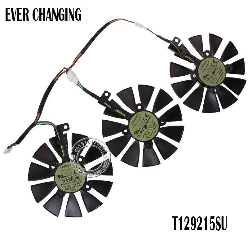 Nueva 87mm everflow t129215su DC 12 V 0.50amp 4pin 4 Alambres ventilador para Asus gtx980ti R9 390X390 gtx1070 tarjeta gráfica Ventiladores