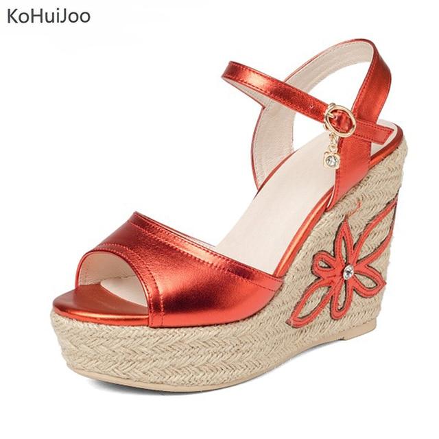 37f598c9be5e9 KoHuiJoo Summer Sandals Ladies Wedges Sandals Women 2018 High Heel Casual Shoes  Women Open Toe 4 Cm Platform Gladiator Sandals