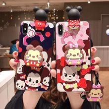 3D Cute Mickey Minni Mouse Ear Case for VIVO V 11i 9 7 5 X 20 9 7 S plus Y 66 55 71 83 93 Cartoon Toy Wrist Strap Soft TPU Cover(China)