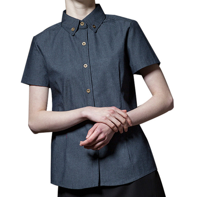 Poly Cotton Blue Short Sleeve Shirt Hotel Restaurant Chef Kitchen Uniform Barista Bistro Diner Baker Bar Catering Work Wear D40