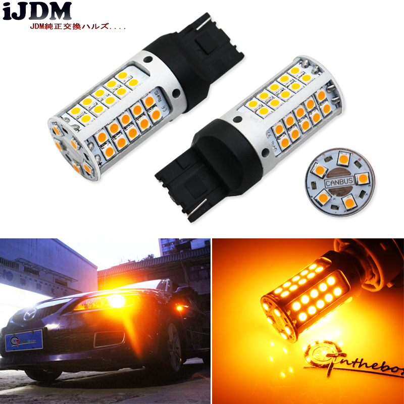 iJDM No Resistor, No Hyper Flash 21W High Power Amber yellow W21W T20 7440 LED Bulbs For Car Front or Rear Turn Signal Lights 2 no resistor no hyper flash 21w high power amber bau15s 7507 py21w 1156py led bulbs for car front or rear turn signal lights