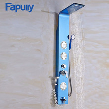 Fapully Stainless Steel Rainfall Shower Panel Body Rain Massage System Faucet with Jets Hand Shower Brushed Tap new waterfall fashion luxury gold shower column shower panel hand shower massage jets stainless steel plate shower faucet