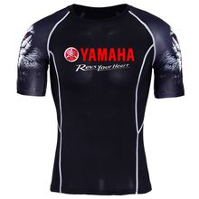 yamaha revs your heart print Short Sleeve 3D T Shirt Men T-Shirt Male Crossfit Tee tshirt Mens tops Fitness Compression MMA(China)