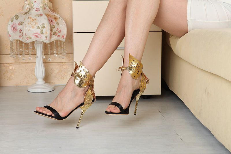 ФОТО Chuassure female sexy high heel sandals super high thin heels open toe butterfly decoration ankle strap women party shoes  gold