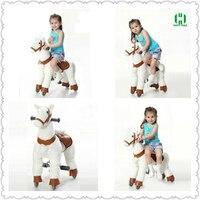 Высокое качество Белая лошадь Игрушечные лошадки для 3 7 лет для мальчиков и девочек милые детские раздвижные механические ездить на лошади