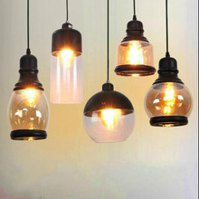 American Style Country Glass  Pendant Lamp Ball Retro Dining Living Room Pendant Light Led Kitchen E27 Lights