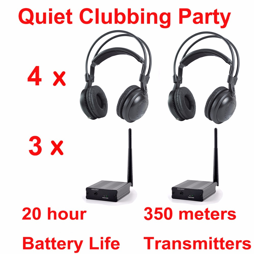 Professional Silent Disco compete system wireless headphones - Quiet Clubbing Party Bundle (4 Headphones + 3 Transmitters) wireless fm transmitters square dance convention professional transmitters