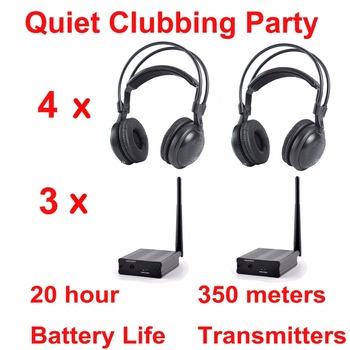 Professional Silent Disco compete system wireless headphones - Quiet Clubbing Party Bundle (4 Headphones + 3 Transmitters)