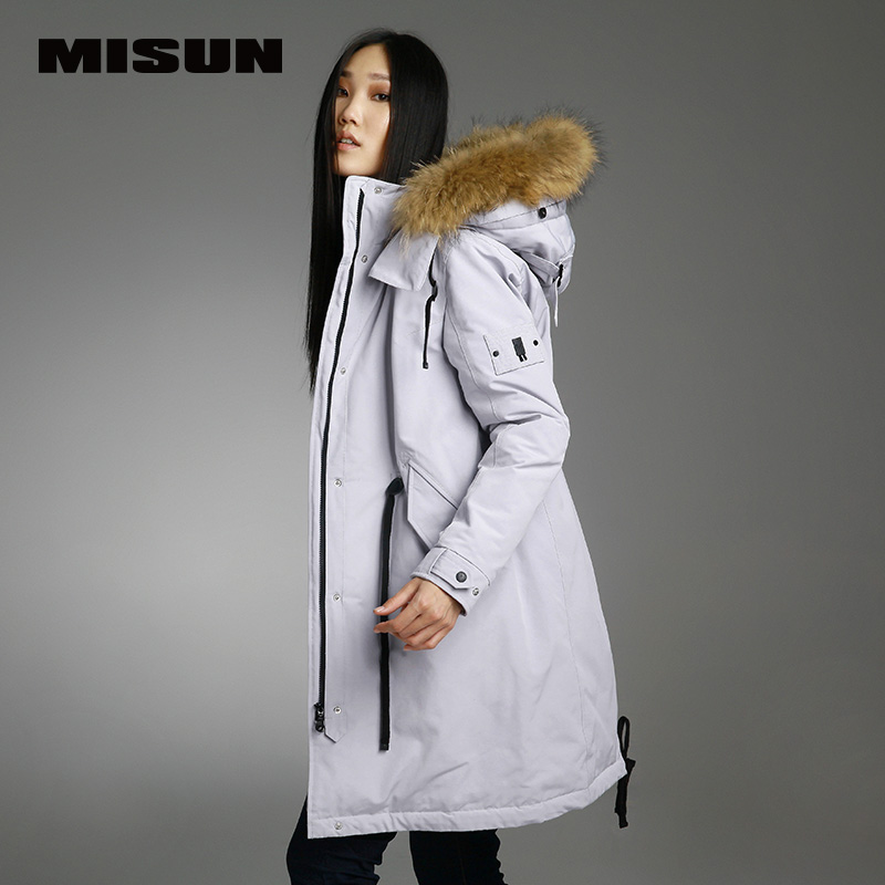 Misun 2017new paragraph trench thickening removable cap down coat female womens jackets womens