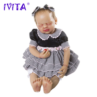 IVITA 22 Inches Silicone Reborn Babies Realistic Metal Skeleton Closed Eyes Soft Lifelike Root Hair Silicone Dolls Reborn Toys