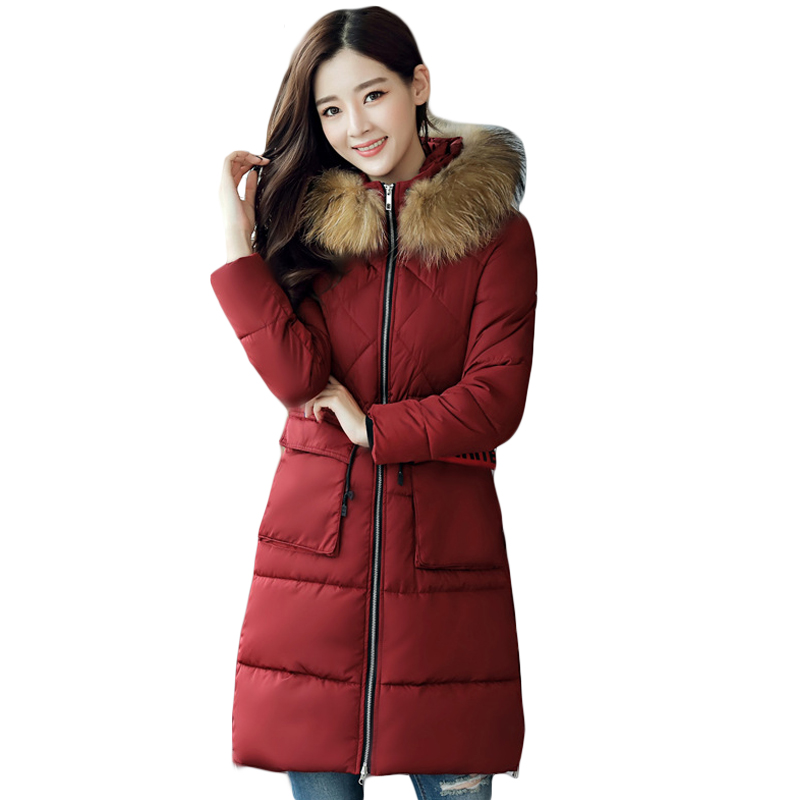 2017 Girls Long Slim Parkas Women Large Fur Collar Hooded Jacket Female Warm Winter Coat Outwear Thick Padded Cotton Coat CM1680 women winter cotton padded jacket warm slim parkas long thick coat with fur ball hooded outercoat female overknee hoodies parkas