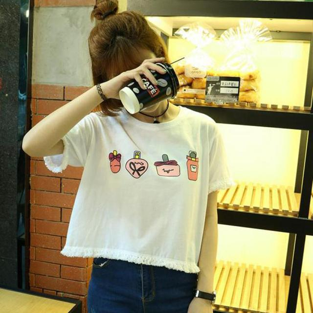 Fashion T-shirt Women Summer 2017 Cute Macrame Short Sleeves Loose Cartoon Pattern O-neck Cotton Tops Femme White And Light Blue
