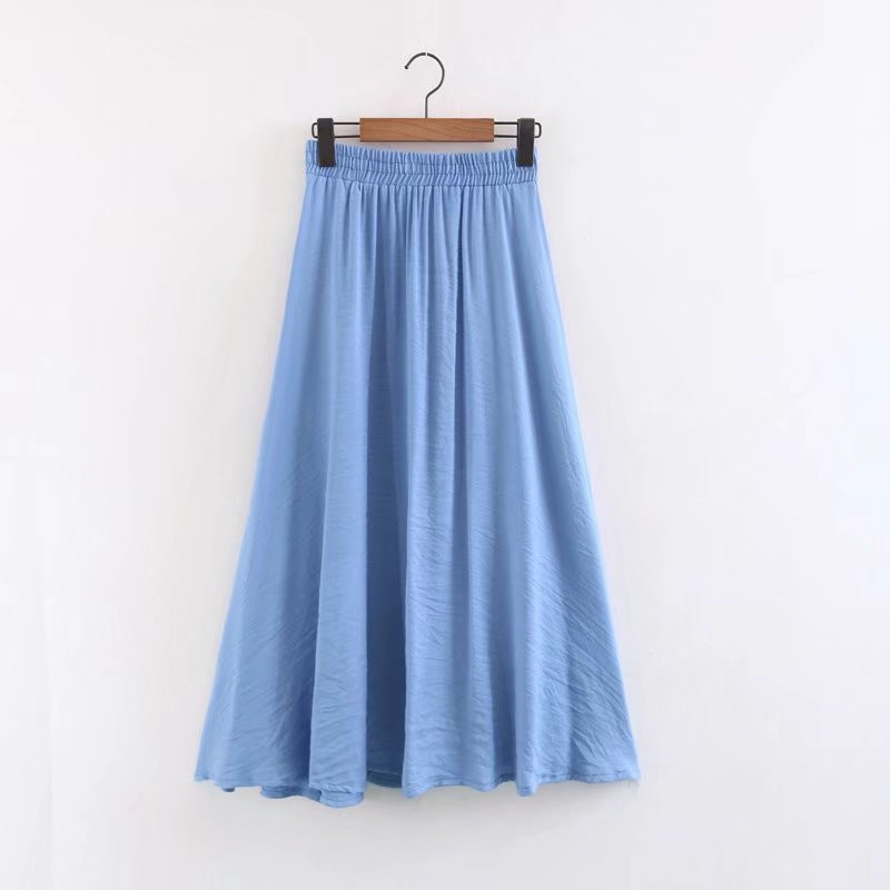 2018 spring summer new high waist wild color cotton and linen A word skirt female, was thin and leisurely elastic waist skirt