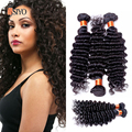Aliexpress Brazilian Hair Weave Bundles Curly 4 Pcs 100% Human Hair Weaving 7A Unprocessed Brazilian Deep Curly Hair