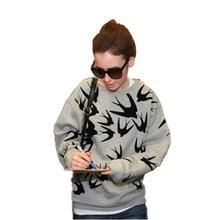 Print Hoody Sweatshirts Women Super Star Brand Autumn Winter New Fashion Gray Cotton Swallows 3d Hoodies Casual Pullovers