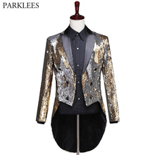 Suit Jacket Blazers Dance-Costume Tailcoat Glitter Sequin Stage Gold Shiny Mens Brand