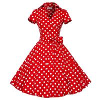 Plus Size S 4XL Women Retro Dress 50s 60s Vintage Rockabilly Swing Feminino Vestidos V Neck