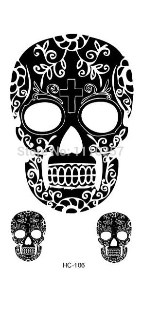 5b7455b11 Fashion Black Sugar Skull Tattoo,Durable Waterproof Halloween Tattoo  -50sheets