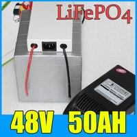 Paquete de batería de 48V 50AH LiFePO4  batería de litio de Scooter de bicicleta eléctrica de 2500W + BMS + cargador  Envío Gratis