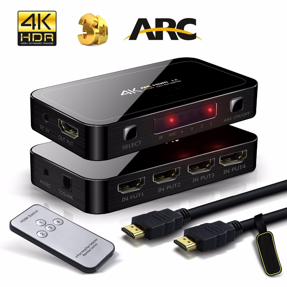 Mini UHD 4K 4 Input 1 Output HDMI 2.0 Switch 4x1 HDMI Switcher Audio Extractor With ARC & IR Control For PS3 PS4 Apple TV HDTV