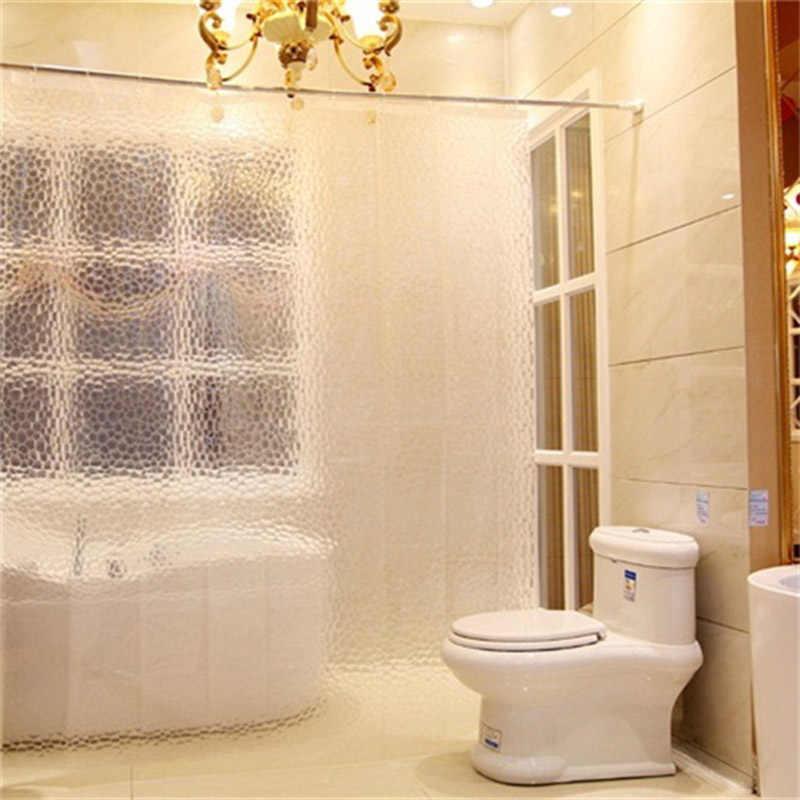 PEVA łazienka zasłona prysznicowa wodoodporna 3 kolory przejrzyste łazienka kurtyny wysokiej jakości 3D zasłony prysznicowe