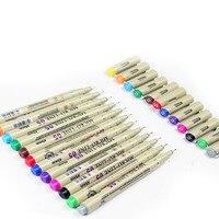 12 Цвет эскиз ручка 0.5 мм превосходное иглы рисунок пером изысканные лайнер Pigma Рисование Манга Аниме тонкой Цвет Микрон ручка книги по искус...