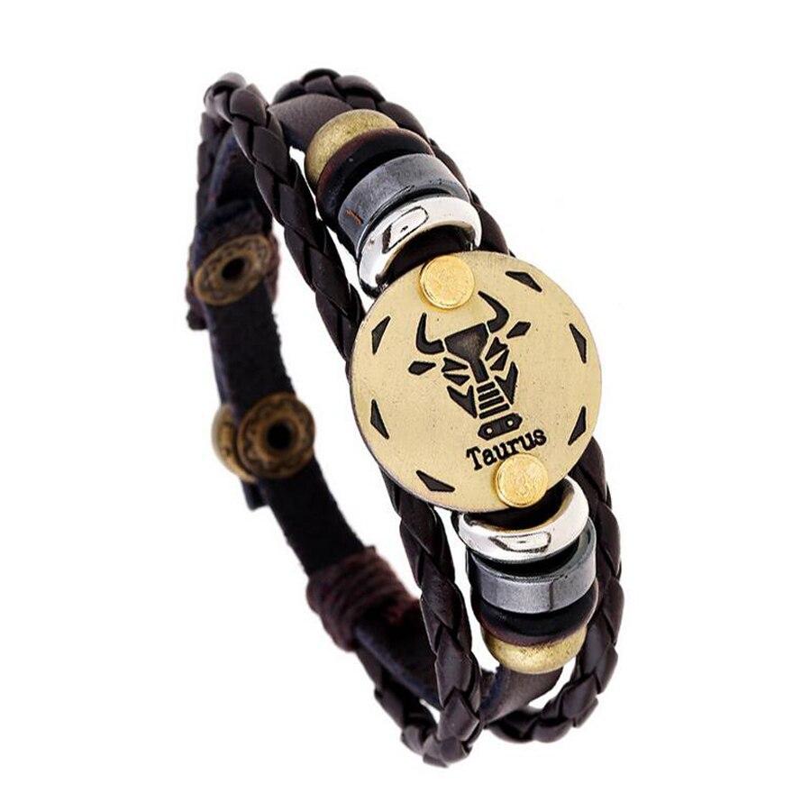 12 Zodiac Sings Leather Charm Bracelet Summer Trendy Jewelry Diy Braided Bangle Friendship Bracelet For Best Friend Forever Gift