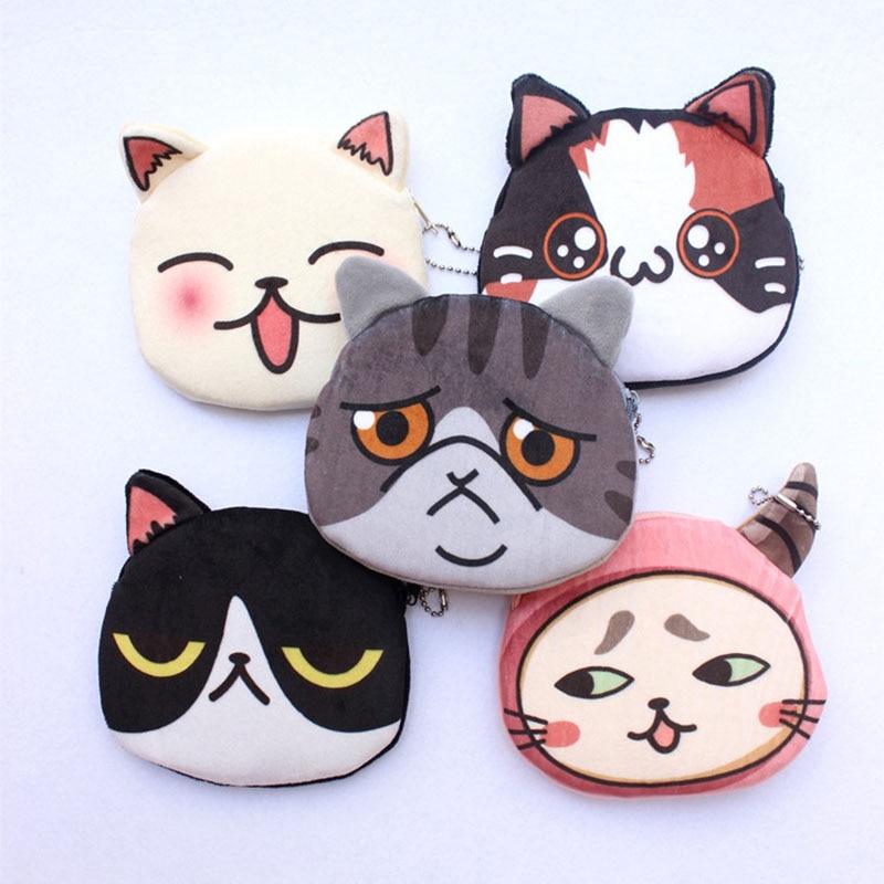 2017 New Women Wallet Cute Cat Coin Purse Girls Canvas Cartoon Small Money Bag, Women Change Purses Coin Wallet carteras mujer