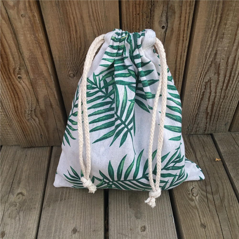 YILE 1pc Cotton Linen Drawstring Sorted Pouch Party Gift Bag Print Green Leaf 81031C