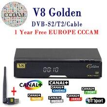 V8 Or Satellite Récepteur DVB-T2 DVB-S2 Plein 1080 P HD Avec 1 année cccam cline Europe Ccam Serveur + 1 PC USB Wifi Set top boîte