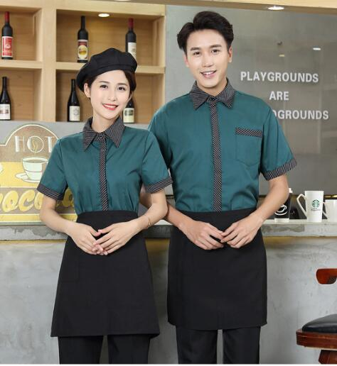Summer Waiter Uniform Retro Hotel Restaurant Workwear Cheap Tea House Uniforms Short Sleeve Barbecue Coffee Shop Waiter Clothing