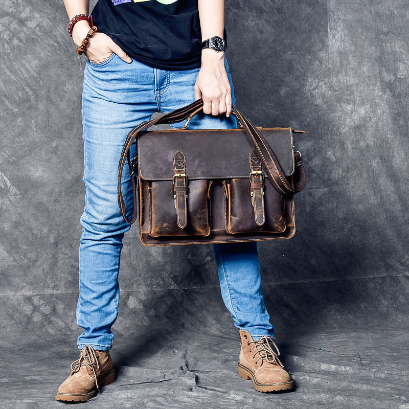 16 inch Handmade Leather Satchel Tan Briefcase Laptop Portfolio Messenger Man Bag Real Leather Portfolio Attache Business Bag
