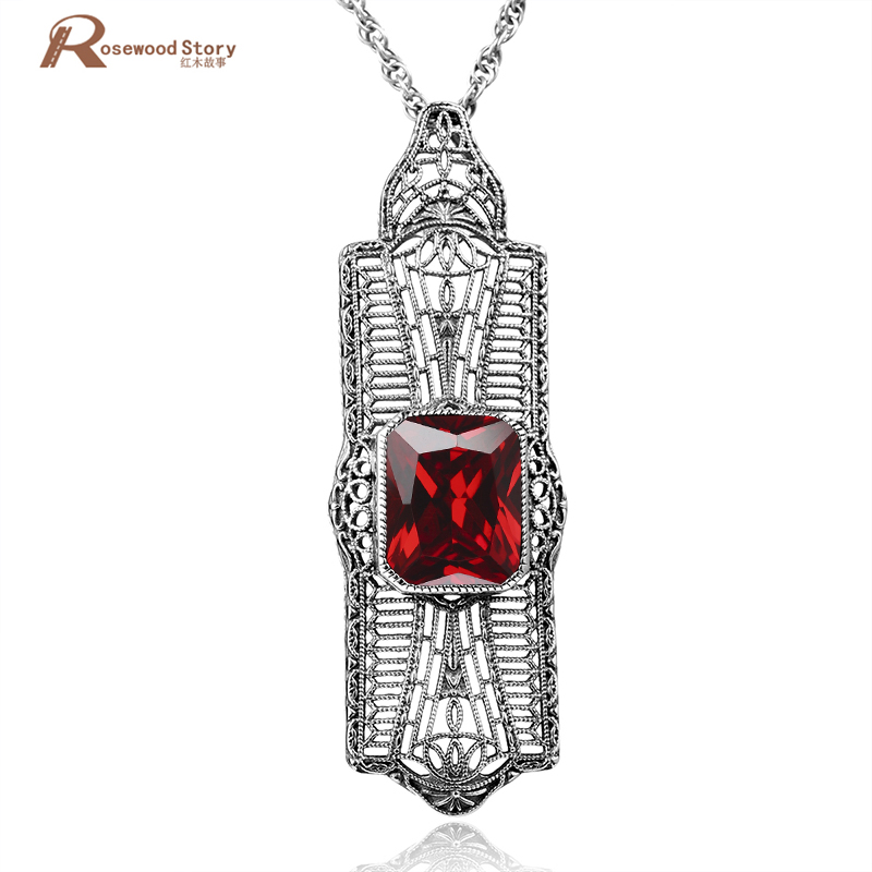 Handmade Charm 100% Pure 925 Sterling Solid Thai Silver Red Stone Crystal Pendants For Women Men Jewelry Making Vintage Gifts