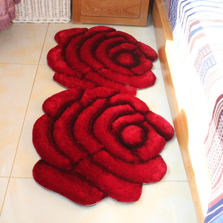 70X140 CM tapis 3D motif tapis stéréo Rose Double fleur tapis rayé corée du sud fil tapis pour salon chambre tapis