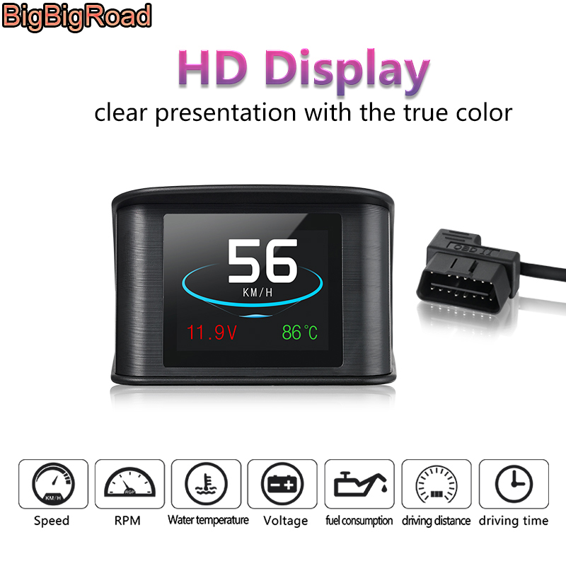 BigBigRoad For Citroen C1 C2 C3 C4 C4L C5 C6 Berlingo 2 3 Car Hud OBDII EUOBD Windscreen Projector Head Up Display Speed Warning bigbigroad car hud obd 2 euobd windscreen projector speed head up display for kia niro mohave borrego k9 k900 kx3 k7 kx7 cadenza