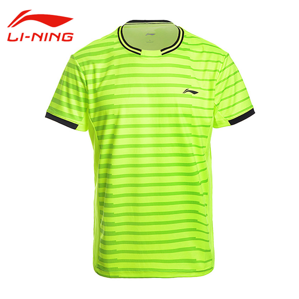 Li-Ning Men's Professional Badminton T-Shirts AT DRY Short Sleeves Breathable Tee Li Ning Tennis Shirt LINING Sports Top AAYM143 black hollow out round neck short sleeves t shirt