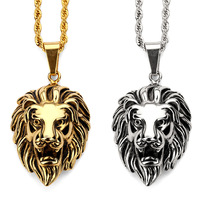 Fashion Charms Lion Head Vintage Pendant Necklace Steel Gold Silver Chain Hip Hop Jewelry Filling Pieces