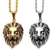 Fashion Charm Löwenkopf Vintage Anhänger Halsketten Edelstahl Gold Silber Kette Hip Hop Schmuck Füllstücke Männer Geschenke