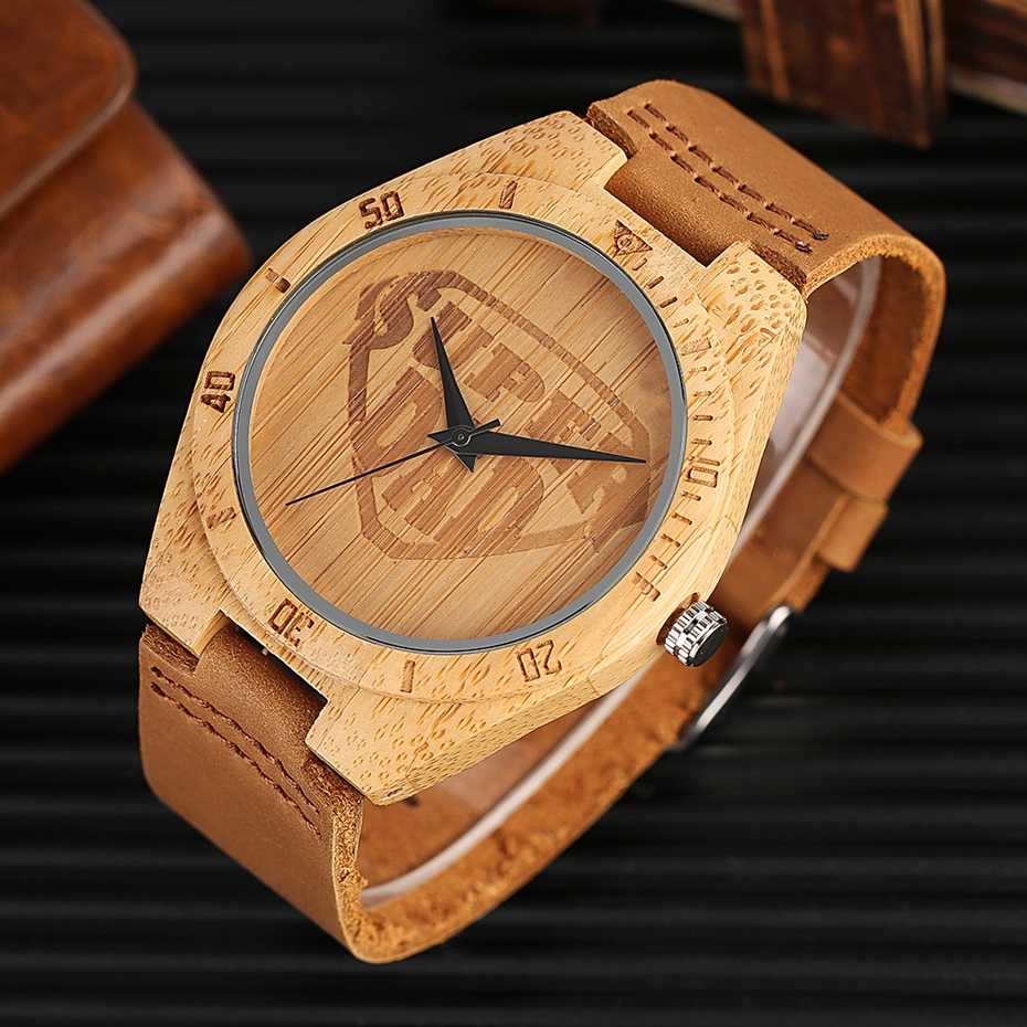 SUPER DAD Wood Watch Simple Bamboo Male Clock Casual Genuine Leather Band Men's Quartz Wristwatch Top Gifts for Dad Father's Day 2017 (8)