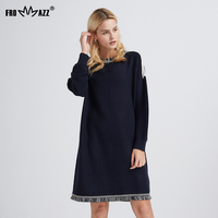 2017 NEW Women Dress Autunm Winter Knitted Sweater O Neck Long Mid Calf Vintage Loose Warm
