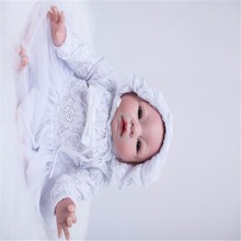 19 inch 48 cm Silicone baby reborn dolls, lifelike doll reborn Beautiful white dress baby boy girl birthday gift