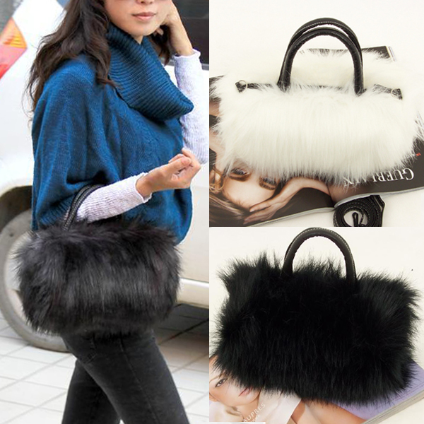 Girls Lady Fashion PU Leather & Faux Fur Handbag Shoulder Bag  OH66