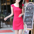 2015 new summer style Fashion Women knit dresses Slim sleeveless dresses casual dress miniskirt vestidos 5 color S-XXL the size