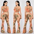 Womens Pants Sets 2016 Autumn New Hot Tie Dye Printed Vintage Wide Leg  Pants with Strapless Tops Fashion 2-Piece Set Women