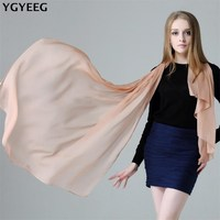 YGYEEG High Quality Thin 100 Real Silk Scarf Shawl Wrap Hijab Women Lady Fashion Long Scarves