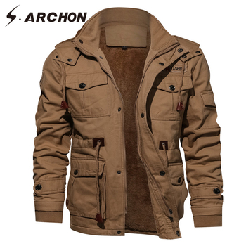 S.ARCHON Military Jackets Men Thick Warm Cotton Winter Flight Tactical Pilot Army Jacket Casual Air Force Jacket Coats