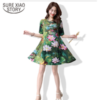 New 2016 Fashion Plus Size Women Dress Cotton Elegant Slim Short Sleeved Retro Loose Female Printing