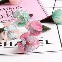 New 10PCs Handmade Chiffon Fabric Crochet Flower Tassel Pendant Charms Fit Girls Hair Jewelry Garment Shoes